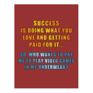 Success - Play Video Games Postcard