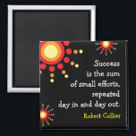 """Success Quotation Motivational Black Magnet<br><div class=""""desc"""">Learn the success principle from this quote by Robert Collier-&quot;Success is the sum of small efforts,  repeated day in and day out.&quot;</div>"""