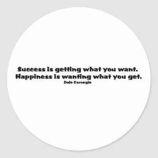 Success Quote Classic Round Sticker