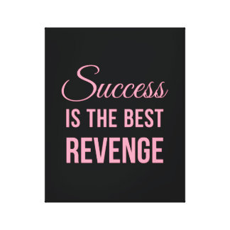 Success Revenge Inspirational Quote Black Pink Canvas Print