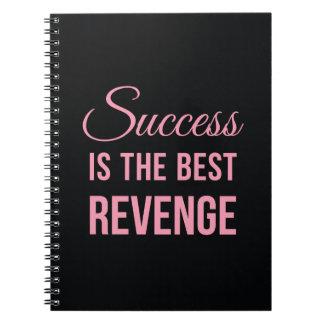 Success Revenge Inspirational Quote Black Pink Notebook