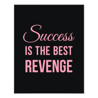 Success Revenge Inspirational Quote Black Pink Photo Print