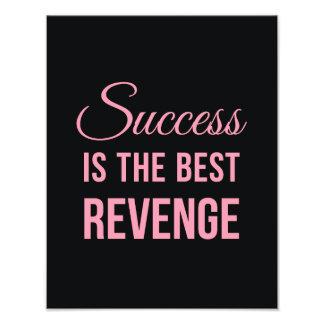 Success Revenge Inspirational Quote Black Pink Photo Print