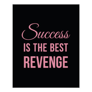 Success Revenge Inspirational Quote Black Pink Poster