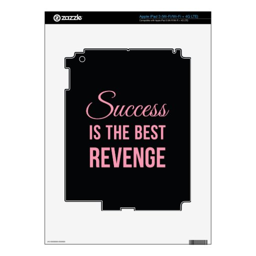 Success Revenge Inspirational Quote Black Pink Decal For iPad 3
