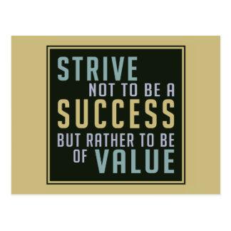 Success & Value Motivational postcard