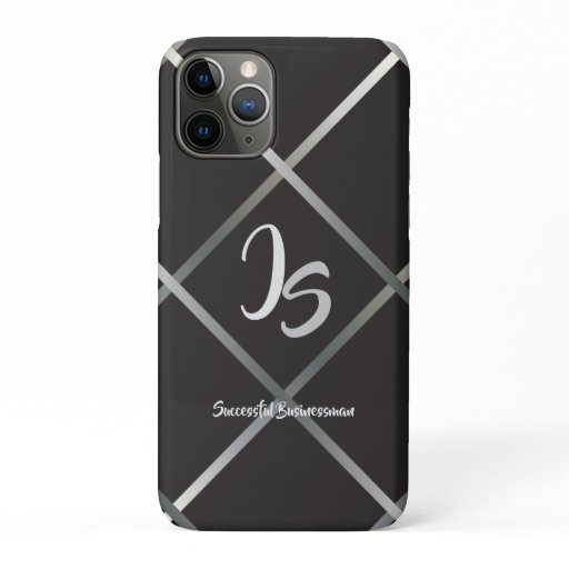 """Successful Businessman"" Personal Silver Monogram iPhone 11 Pro Case"