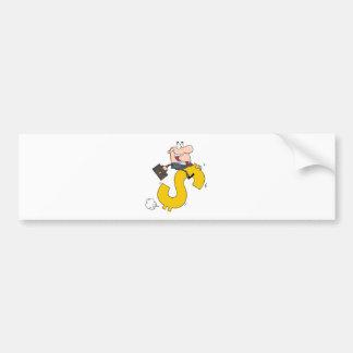 Successful Businessman Riding On A Dollar Symbol Bumper Sticker
