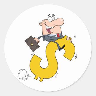 Successful Businessman Riding On A Dollar Symbol Classic Round Sticker