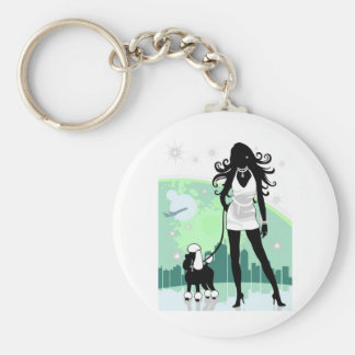 Successful Female in City Walking Poodle Keychain
