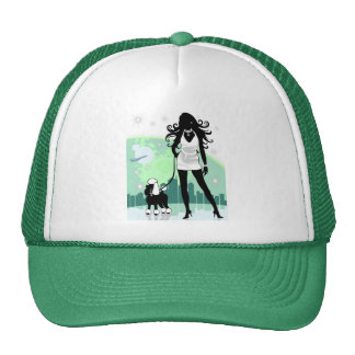 Successful Female in City Walking Poodle Mesh Hats
