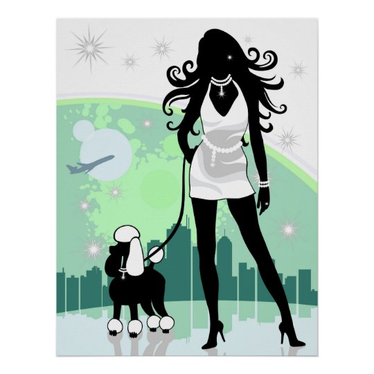 Successful Female in City Walking Poodle Poster