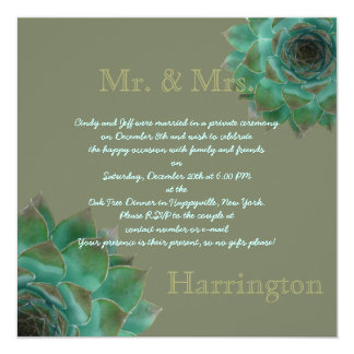 Succulent After the Honeymoon Reception Party Invitation