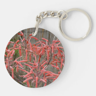 succulent aloe flowers pink neat flower photo Double-Sided round acrylic keychain