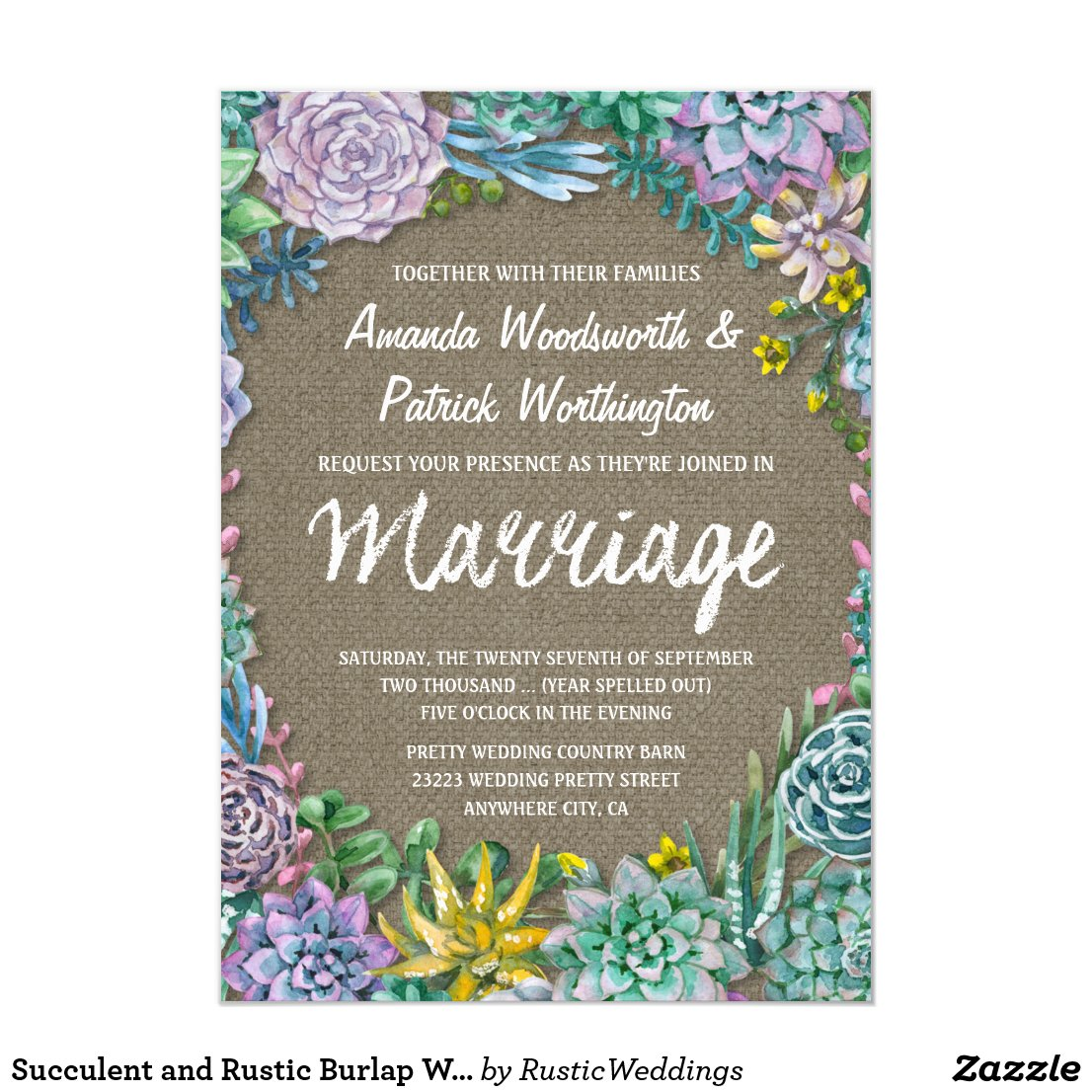 Succulent and Rustic Burlap Wedding Invitations