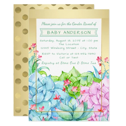 Succulent Baby Shower Gender Reveal Invitations