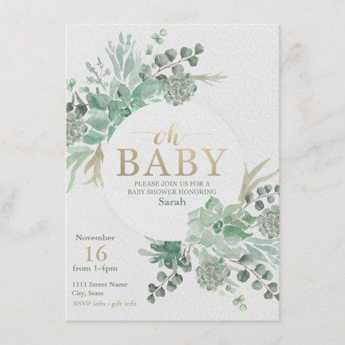 Succulent Baby Shower Invitation _ Floral Invite