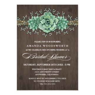 Succulent Baby's Breath Bridal Shower Invitations