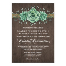 Succulent Baby's Breath Rustic Wedding Invitations