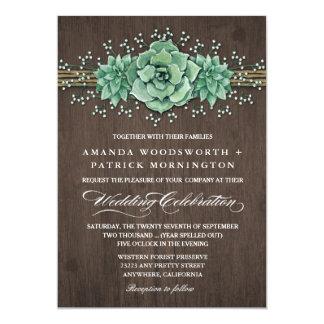 Succulent Baby's Breath Rustic Wedding Invitations