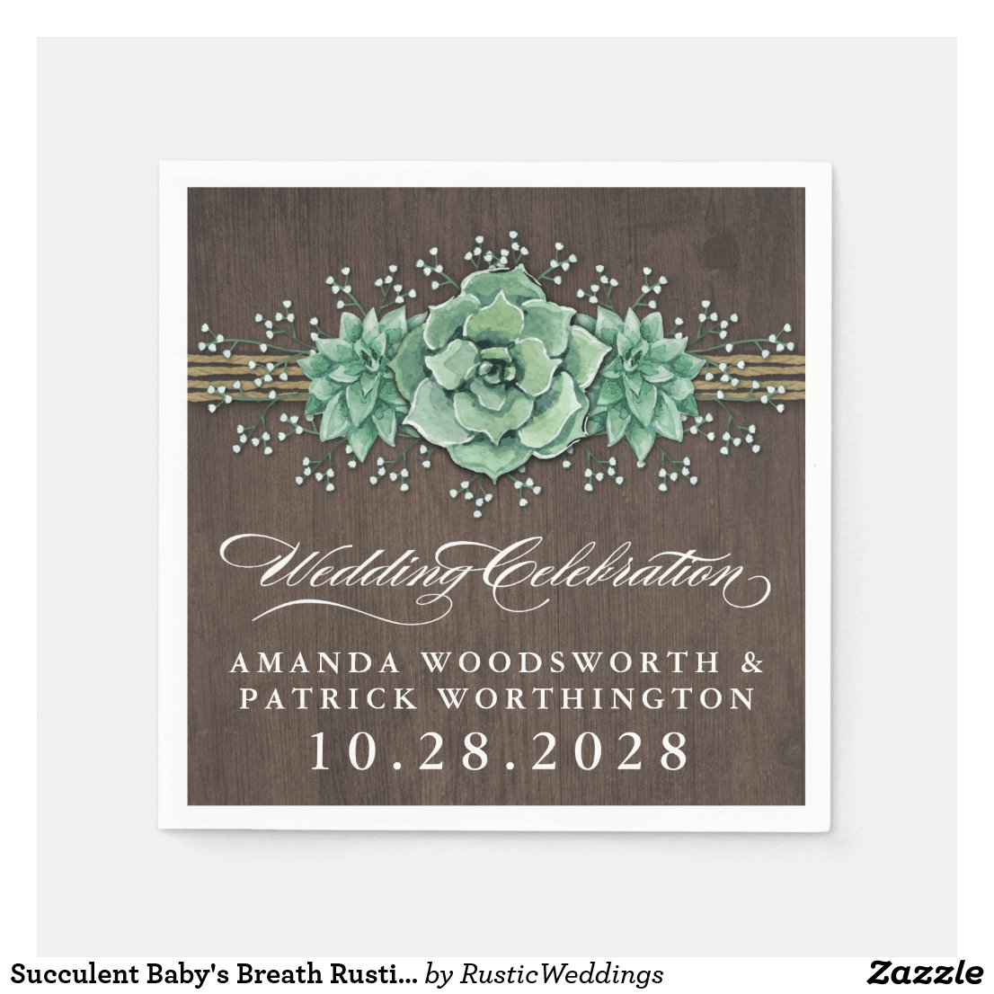 Succulent Baby's Breath Rustic Wedding Napkins