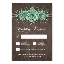 Succulent Baby's Breath Rustic Wedding RSVP Cards