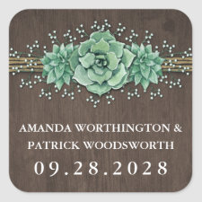 Succulent Baby's Breath Rustic Wedding Stickers
