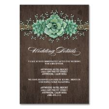 Succulent Baby's Breath Wedding Enclosure Cards