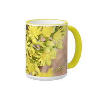 Succulent Blossoms Yellow Two Toned Mug