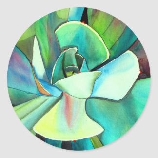 Succulent blue and green desert watercolour art classic round sticker