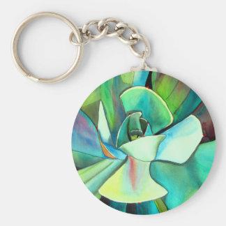 Succulent blue and green desert watercolour art basic round button keychain