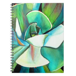 Succulent blue and green desert watercolour art notebook