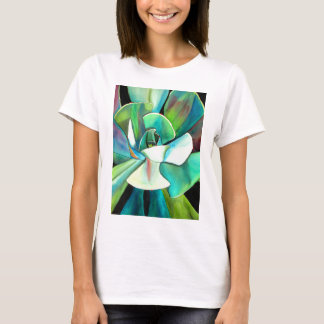 Succulent blue and green desert watercolour art T-Shirt