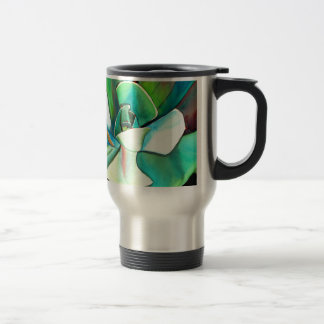 Succulent blue and green desert watercolour art travel mug