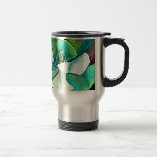 Succulent blue and green desert watercolour art travel mug