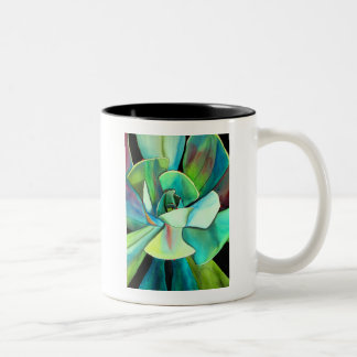 Succulent blue and green desert watercolour art Two-Tone coffee mug