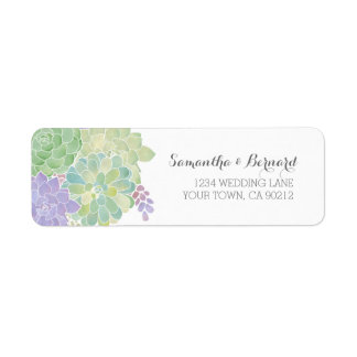 Succulent Bouquet Elegant Wedding Label