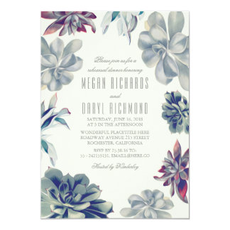 Succulent Bouquet - Floral Rehearsal Dinner Card
