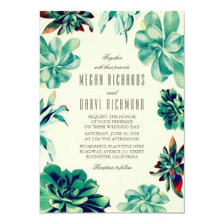 Succulent Bouquet - Floral Teal Wedding Invitation