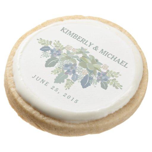 Succulent Bouquet Floral Wedding Cookie Favor Round Premium Shortbread Cookie