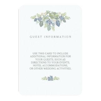 Succulent Bouquet Floral Wedding Guest Info Insert 3.5x5 Paper Invitation Card