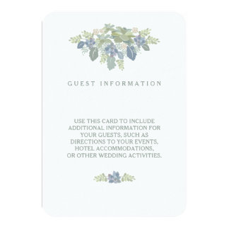 Succulent Bouquet Floral Wedding Guest Info Insert Card
