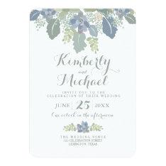 "Succulent Bouquet Floral Wedding Invitation 5"" X 7"" Invitation Card at Zazzle"