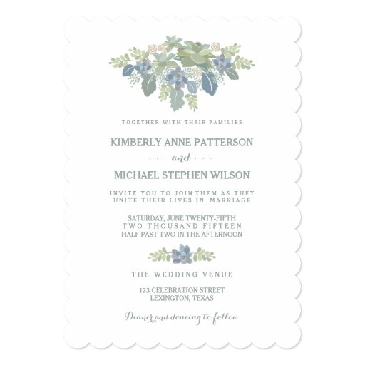 Personalized Succulent wedding Invitations CustomInvitations4Ucom