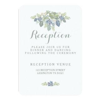 Succulent Bouquet Floral Wedding Reception Card