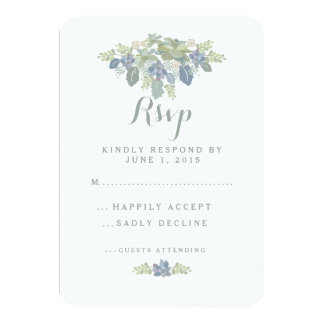 Succulent Bouquet Floral Wedding RSVP Response Card