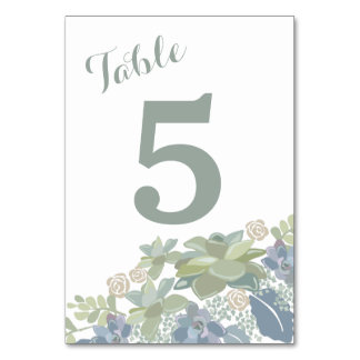 Succulent Bouquet Floral Wedding Table Number Card