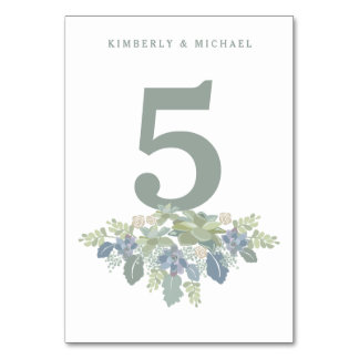 Succulent Bouquet Floral Wedding Table Number Card Table Card