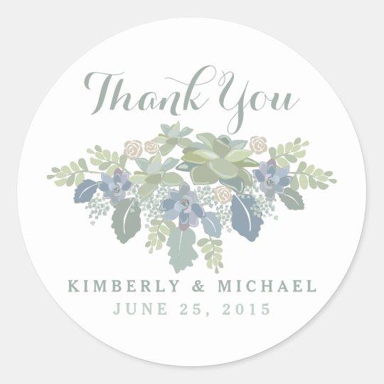 succulent bouquet floral wedding thank you sticker zazzle com