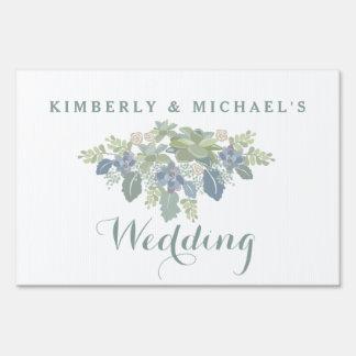Succulent Bouquet Floral Wedding Yard Sign